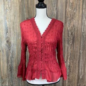 Sunny Leigh burgundy blouse